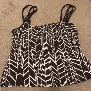 La Blanca brown tankini block print bikini top
